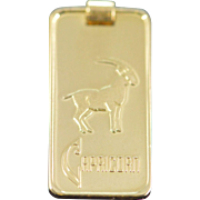 SALE 14K Reed & Barton Capricorn 5 Gram Bar Pendant Yellow Gold