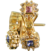 SALE 14K 1.29 CTW Diamond & Multi Colored Sapphire French Clip Earrings Yellow Gold