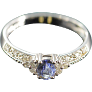 SALE 10K 0.50 CTW Tanzanite Diamond  Ring - Size 7 / White Gold