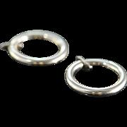SALE 14K Hoop Spring Loaded Pressure Earrings White Gold