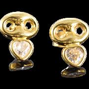 SALE 18K Puffy Heart Shape CZ Earrings Yellow Gold