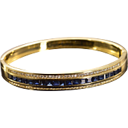 "18K 4.77 CTW Sapphire Diamond Bangle Hinged Bracelet 2.35"" Yellow Gold"