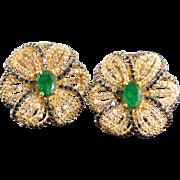 SALE 14K 3.07 CTW Emerald Black & White Diamond Flower French Clip Earrings Yellow Gold