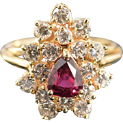 14K 0.71 CTW Rubellite Tourmaline Diamond Cluster Ring - Size 6.5 / Yellow Gold