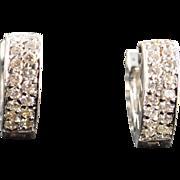 SALE 18K 0.50 CTW Diamond Clip Hoop Earrings White Gold