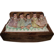 Absolutely Adorable Vintage Composition Version of Dionne Quintuplets babies Circa 1935