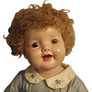 """SOLD Vintage Effanbee Large Adorable Composition &  Cloth """"Lovums Doll"""" With Car"""