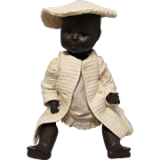 "Vintage Beautiful Black German Character Bisque Baby 15"""