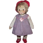 """Vintage Kathe Kruse Cloth Doll In Original Outfit Germany 13"""" Tall"""