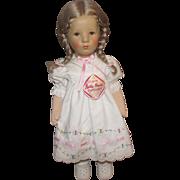 "Gorgeous Vintage Original Kathe Kruse Stoffpuppe Doll In Original Outfit 15"""