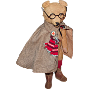 """Adorable Antique Mohair Long Snout Bear Wearing Old Clothing & Glasses 15"""" Circa 1900's"""