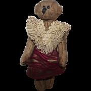 "Adorable Antique Cabinet Size Mohair Bear Long Snout, Long Arms 9"" Circa 1900'"