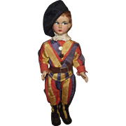 """Vintage Cloth Side Glancing Magis Roma Doll Made In Italy 11"""" Tall CIRCA 1940'S"""