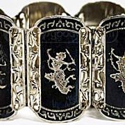 Vintage 7 Panel Siam Niello Sterling Silver Bracelet 58g.
