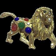 Very Rare Signed Pierre Balmain Golden Lion Brooch