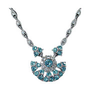 Beautiful Bogoff Sky Blue Rhinestone Fan Necklace and Earrings