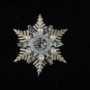 Signed Nettie Rosenstein Rhinestone and Faux Pearl Snowflake / Star Brooch