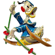 Vintage mid 1950's Donald Duck on Skis Brooch Signed Disney Productions