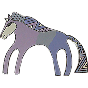 1987 Caballo Horse in Pastel Enamel Cloisonne Signed Laurel Burch Brooch