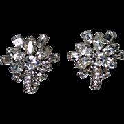 Dazzling, Vintage 1960's Eisenberg White (clear) Rhinestone Clip-on Earrings
