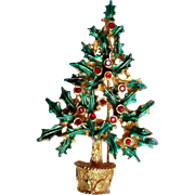 Vintage Holly Christmas Tree Brooch Signed MYLU - Book piece