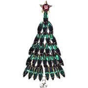 Vintage Signed Eisenberg Ice Green Navette Christmas Tree Brooch Book Piece
