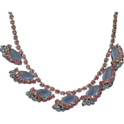 SALE Vintage Sparkling Frosted Blue and Deep Pink Rhinestone Necklace