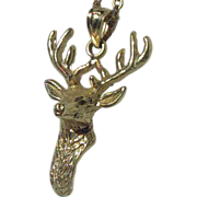 14K Gold signed Dazzler Regal Reindeer Pendant