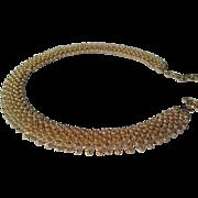 Elegant Vintage c. 1950's Signed Coro Golden StarBurst Choker Necklace