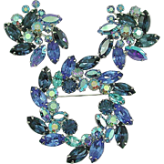 Glamorous Vintage 1960's Signed Weiss Spinning Star Rhinestone Brooch and Earrings Set