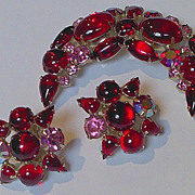 REDUCED Mesmerizing Weiss Red Demi Crescent and Earrings Set