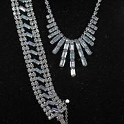 Beautiful Pale Blue Rhinestone Demi Necklace and Bracelet Set
