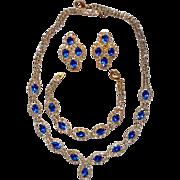 Vintage Parure White (clear) and Sapphire Blue Rhinestone Necklace, Bracelet, Earrings Set