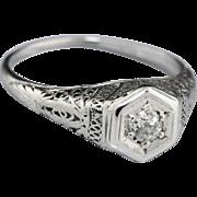 SALE Vintage 0.17ct European Diamond Solitaire Filigree Engagement Ring 18 Karat Gold