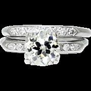 SALE Vintage Art Deco 2.28ctw Old European & Single Cut Diamond Engagement Ring Set