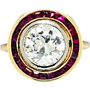 SALE Art Deco European Diamond Engagement Ring with Rubies in Rose & White Gold 2.50ctw