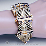 Victorian Hamilton Watch Bracelet in Solid 14 Karat Yellow Gold Belt Buckle Motif