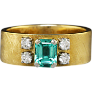Estate Emerald & Diamond Wide Ring or Anniversary Band 18K/Platinum Florentine