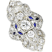SALE Vintage Art Deco Old Mine Cut Diamond & Sapphire Ring Platinum 2.50ctw