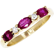 SALE Ruby Anniversary Wedding Band with Diamonds in 14kt Yellow Gold .60ctw