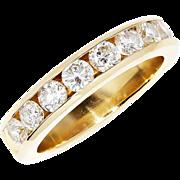 SALE Round Diamond Anniversary Band Channel Set 14kt Yellow Gold 1.20ctw