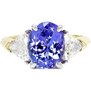 SALE Handmade Three Stone Gemstone Ring Tanzanite & Diamonds 18K Gold & Platinum 3.75ctw
