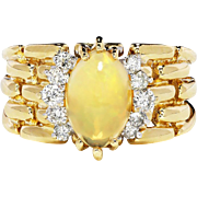 SALE Estate Marquise Cab Opal & Diamond Link Style Cocktail Ring 14kt Yellow Gold 2.17ctw
