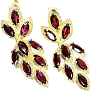 SALE Estate Marquise Cut Garnet Leaf Motif Dangle Earrings in 14kt Yellow Gold 9.00ctw