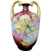 "SALE Limoges H.P. 13 ½"" Muscle Vase w/ Yellow Roses- artist signed"
