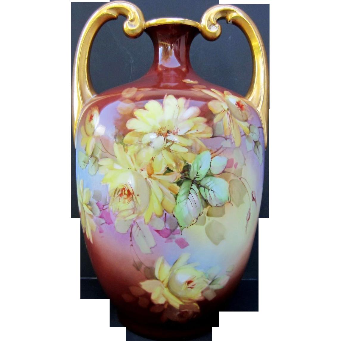 limoges h p 13 muscle vase w yellow roses artist signed. Black Bedroom Furniture Sets. Home Design Ideas