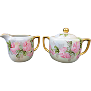 """Hand Painted Sugar and Creamer w/ Pink Roses- signed """"ESW"""""""