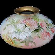 """SALE Limoges H.P. Ester Miler 12"""" Squat Vase w/Chrysanthemums- signed """"E. Miler"""""""