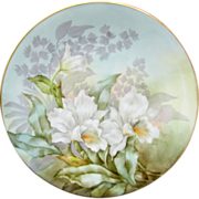 "Limoges H.P. 8 1/2"" Plate- White Orchids with Pastel Background- artist signed ""H ..."