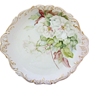 "SALE Limoges H.P. 14 ½"" Charger w/ White Roses & Gold Scroll Border"